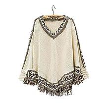 ARJOSA Women's Bohemian Tassels Poncho Cape Irregular Hem Pullovers Sweater