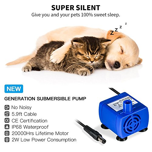 durable service Cat Water Fountain, 1.6L Auto Circulating Pet Water ...