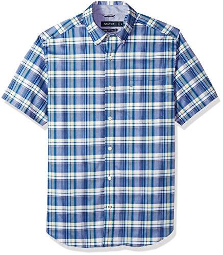 Nautica Men's Wrinkle Resistant Short Sleeve Plaid Button Down Shirt, Monaco Blue, X-Large
