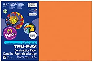 """Pacon Tru-Ray Construction Paper, 12"""" x 18"""", 50-Count, Electric Orange (103405)"""