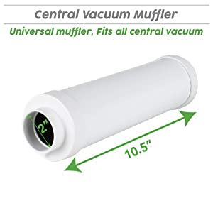 OVO ACCQP-01 Universal Muffler for Central Vacuum Systems, White