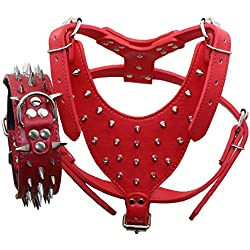 Benala Leather Safety Control Dog Harness & Silvery Sharp Spiked Collar 2Pcs Set for Pitbull Boxer Mastiff Adjustable (Red,L)