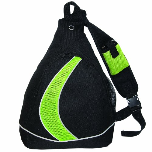 Sling Knapsack (Bags for Less Sling Backpack Knapsack, Black with Lime Mesh)