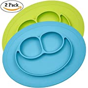 Pedo Shop Silicone Placemat for Kids, Toddlers,Kitchen Dining Table Diner Portable Roll Up Non Slip Washable Restaurant Food Mat plate (Blue + green)