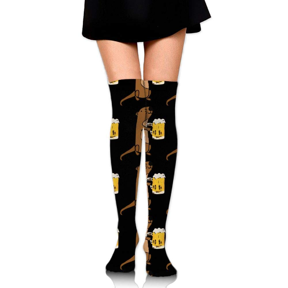 Girls Womens Sea Otter Drinking Beer Over Knee Thigh High Stockings Fashion Socks One Size