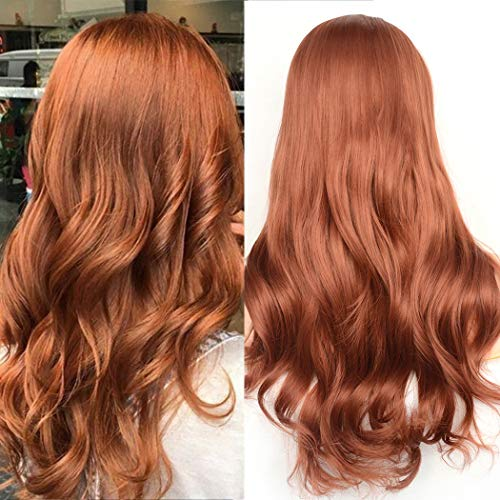 BLUPLE Natural Wavy Lace Front Wigs Women's #350 Copper Red Heat Resistant Synthetic Hair Half Hand Tied Wig Free Part for Halloween (20 inches, Natural Wave,Red#350) ()