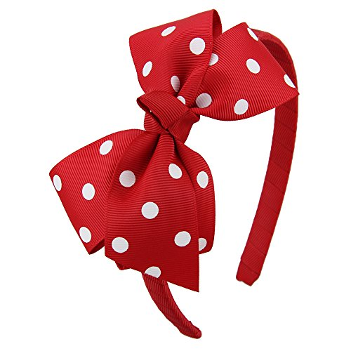 Girls Red White Polka Dot - 7Rainbows Fashion Polka Dot Red Bows Headbands for Toddlers Girls (FS060-250D029)
