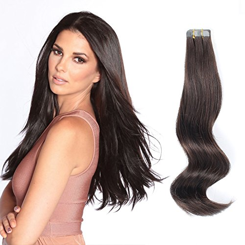 ABH AmazingBeauty Hair Semi-permanent Tape Attached Real Remi Remy Human Tape on Hair Extensions 50g 20pcs Invisible Seamless Reusable Skin Weft Darkest Brown Color 2 14 Inch