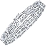 "Sterling Manufacturers Men's Elegant Sterling Silver .925 Bracelet with Channel-Set Princess-Cut Cubic Zirconia (CZ) Stones, Box Lock, Platinum Plated. Sizes 8"" 9"""