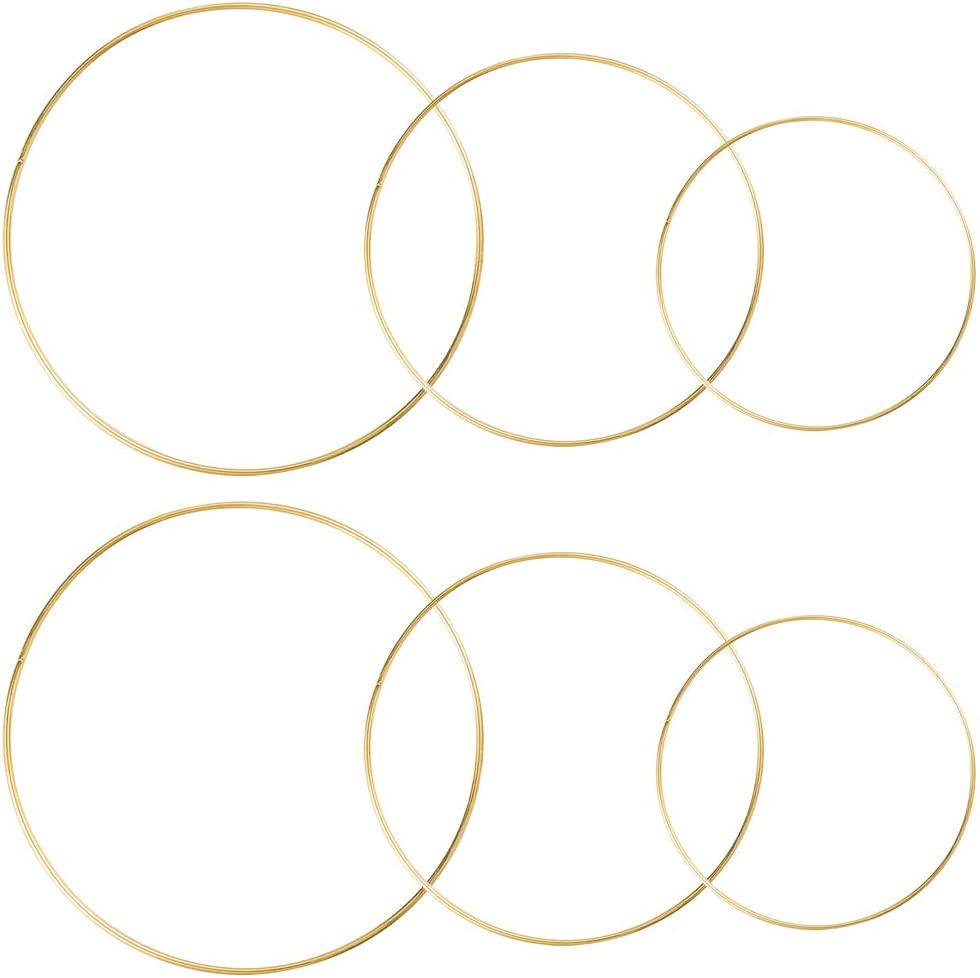Sntieecr 6 Pack 3 Sizes (8, 10 & 12 Inch) Large Metal Floral Hoop Wreath Macrame Gold Hoop Rings for Making Wedding Wreath Decor, Dream Catcher and Macrame Wall Hanging Crafts