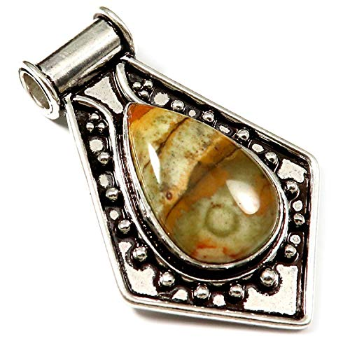 - GoyalCrafts Pendant American Picture Jasper Natural Gemstone Silver Plated Jewelry GPL171