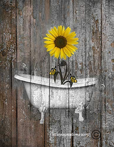 Brown Yellow Bathroom Farmhouse Wall Pictures, Sunflower Butterflies Wall Art, Rustic Modern Decor, Littlepiecreations Original USA Handmade 8