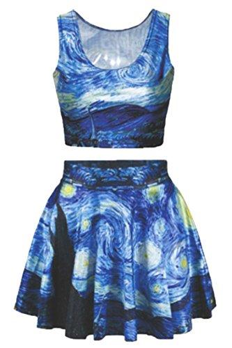 Women's Blue 3D Digital Print Sleeveless Tees Tanks Tops Mini Flared Skirts