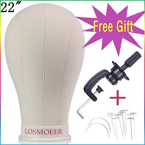 Losmoeer 22Inch Canvas Block Head Wig Set with Stand T-pins C Type Weaving Needle for Making Wigs Display Styling Mannequin Head with Mount Hole (22Inch Wig Head +Clamp Stand + T Pins +C Type Needles) (Clamp Head Wig)
