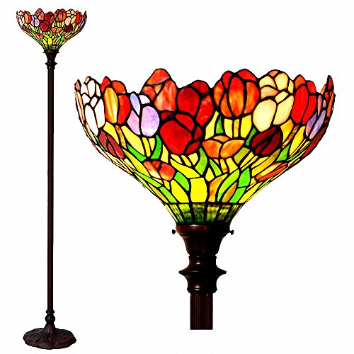 MAGCOLOR Floor Lamp, Tiffany Style Tulips Torchiere Floor Lamp with 15 inches Handmade Lampshade.