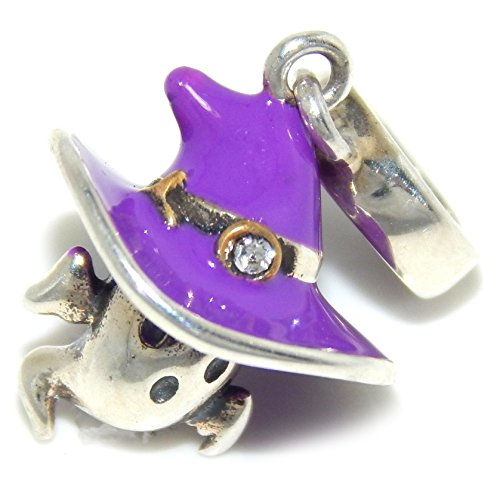 Pro Jewelry 925 Solid Sterling Silver Dangling Ghost Wearing Purple Witch's Hat with Clear Crystal Charm (Pandora The Witch Costume)