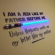 Vinyl Wall Decal Jedi like my Father Unless Hogwarts sends me a letter like my mother - Star Wars and Harry Potter Themed Parody Design