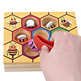 TraveT Lovely Wooden Bee Picking Toy Catching Practices for Baby Early Educational Colorful Beehive Box