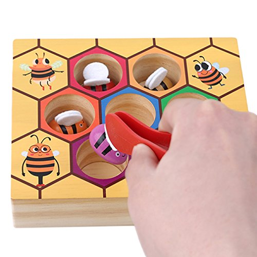 TraveT Lovely Wooden Bee Picking Toy Catching Practices for Baby Early Educational Colorful Beehive Box by TraveT
