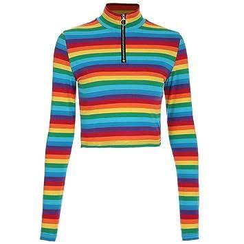 e8b91c3236 Amazon.com  Fashion Womens Long Sleeves Turtleneck Rainbow Striped ...