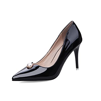 d83e740eda79 AdeeSu Womens Spikes Stilettos Low-Cut Uppers Pointed-Toe Urethane Pumps  Shoes