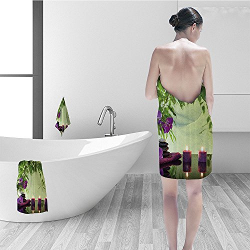Nalahomeqq Bath towel set Spa Decor Zen Stones Aro ic Candles And Orchids Blooms Treatment Vacation Bathroom Accessories 3D Digital Printing No Chemical OdorEco-Friendly Non - Spa Aros