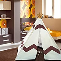 Modern Home Childrens Indoor/Outdoor Teepee Set with Travel Case - Navajo Brown