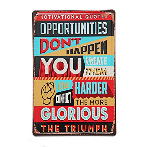 (NEW DECO Opportunities Metal Rustic Vintage Tin Sign Wall Decor Art 18x12 Inches( 20x30cm)