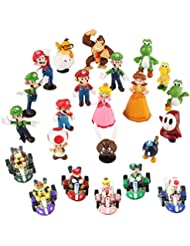 Fam Le Fun 24 pcs Super Mario Kart Brothers Figures and Pull Back Car Mini Set Cake Toppers 1-2 inch PVC Toys