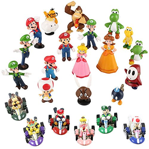 - Fam Le Fun 24 pcs Super Mario Kart Brothers Figures and Pull Back Car Mini Set Cake Toppers 1-2 inch PVC Toys