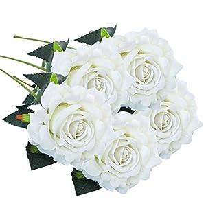 Inverlee 5 Pcs Artificial Flowers Silk Rose Fake Flowers Wedding Bridal Bouquet DIY Home Garden Decor 10