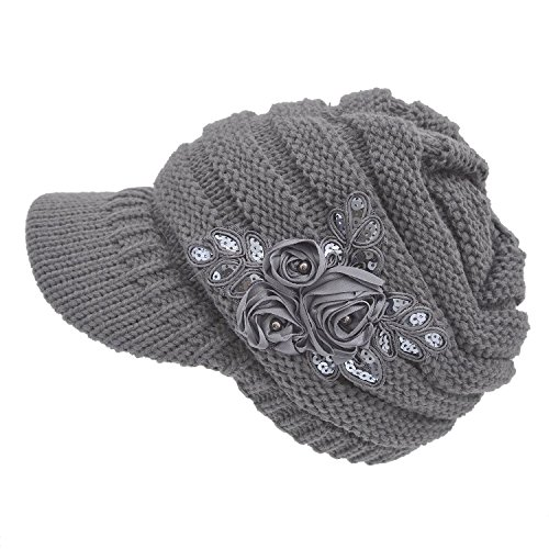 Women's Cable Knit Newsboy Visor Cap Hat with Sequined Flower, Grey, One Size - Womens Knit Cap