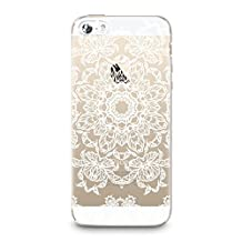 Soft Rubber TPU Case for iPhone 5/5s, CasesByLorraine White Mandala Floral Pattern TPU Soft Rubber Clear Transparent Case for iPhone SE & iPhone 5/5s (P30)