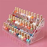 Sooyee 72 Bottles Acrylic 5 Layer Nail Polish Rack Tabletop Display Stand,Clear 5 Tier Lipstick Holder Essential Oils Shelf 15.7x7.8x7.5 Inch,Pack of 1