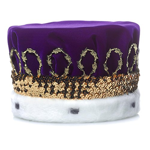 Purple Royal Velvet Crown, White Spotted Faux Fur and Gold Trim, 6 1/2 Inch high
