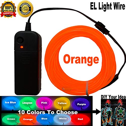 ShineWorld EL Wire Kit DIY Decor Neon Lights Wire Glow Wire for Parties Halloween Christmas Dancing (15ft, Orange) -