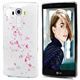 LG G4 Case - Mavis's Diary 3D Handmade Bling Crystal Diamond Pink Flower Leaves Shiny Sparkle Rhinestone Gems Clear Hard PC Cover