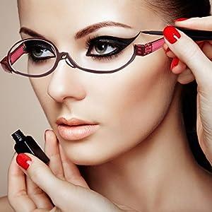 Adjustable lens cosmetic use of eyeglasses eyeglasses makeup reading glasses enlarged folding makeup reading glasses women (2.0, Red,)