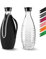 Siegvoll Beschermhoes voor SodaStream Crystal glazen karaf 0,615 L | breukbescherming neopreen hoes voor SodaStream Crystal glazen fles met koeleffect | Ideaal accessoire voor onderweg zwart (zonder fles)