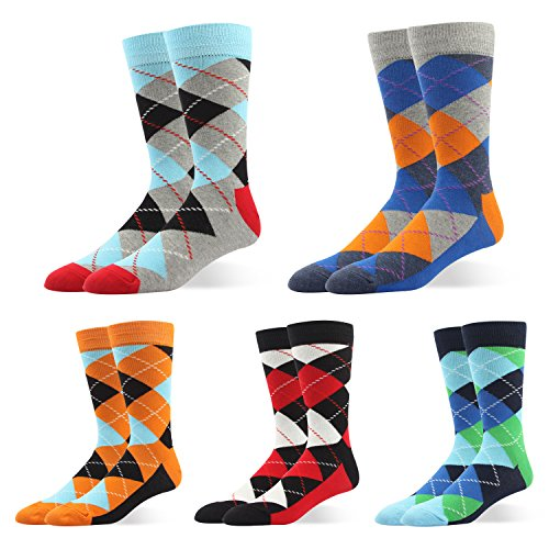 Men Formal Colorful Argyle Diamond Patterned Dress Socks Mid Calf Designed Cotton Blend US 7-11/8-14 For Business Casual (US Men Size 10.5-14/EU 44.5-49, BSK26- argyle diamond shaped) RioRiva