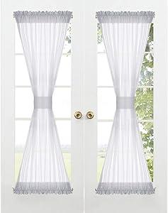 RYB HOME Sheer Sidelight Curtains - Rod Pocket French Door Window Curtain Shades for Bathroom Dining Living Room Farmhouse Kitchen, 2 Tiebacks, 2 Pcs, 60 Width x 72 Length Each, Dove Grey