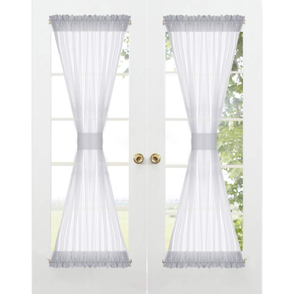 Sheer Sidelight Curtains French Door - Rod Pocket Morden Window Curtain Shades for Bathroom Dining Living Room Farmhouse Kitchen, 1 Tieback, 1 Pc, 60 inch Width x 72 inch Length Each, Dove Grey
