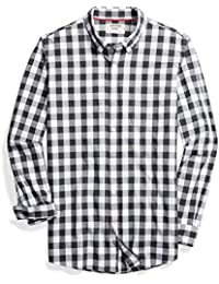 Men's Slim-Fit Long-Sleeve Heathered Large-Scale Check Shirt