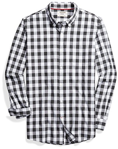 Goodthreads Men's Slim-Fit Long-Sleeve Gingham Plaid Poplin Shirt, White/Grey, Medium (Black And White Plaid Button Up Shirt)