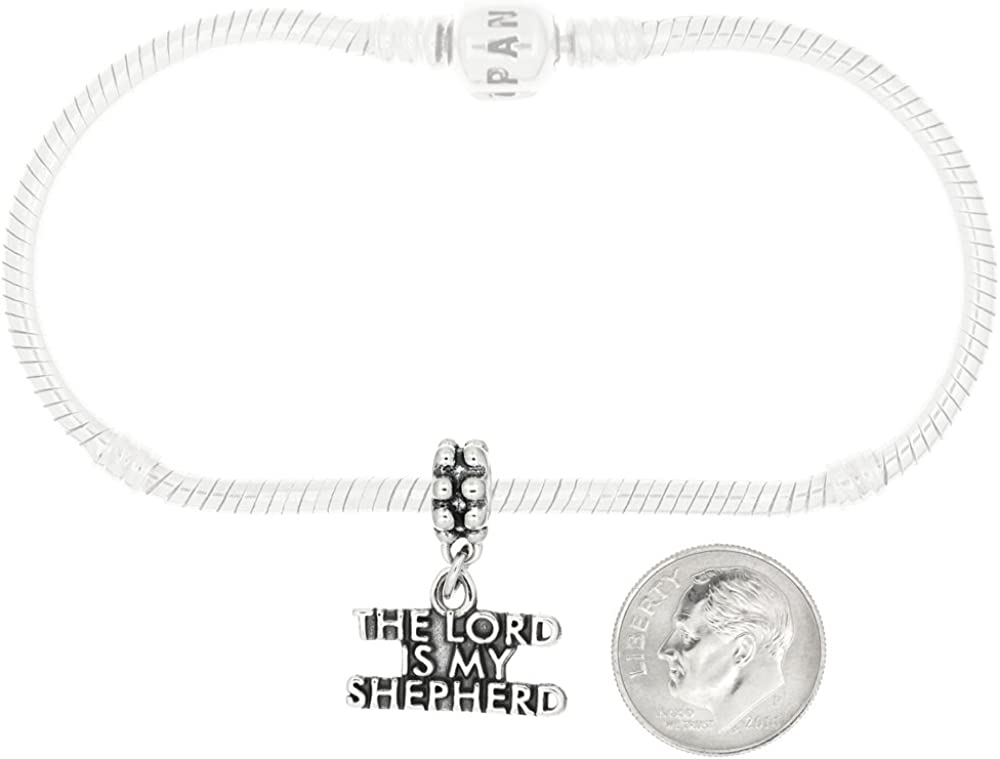 Sterling Silver The Lord Is My Shepherd Dangle Charm Bead For Bead Charm Bracelet