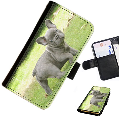 Hairyworm - Adorable small french bulldog Nokia Lumia 635 leather side flip wallet cell phone case, cover with card slots, money slot and magnetic clasp to close.
