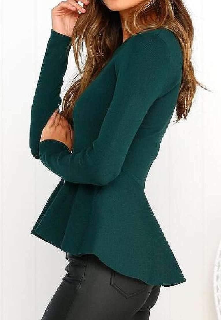 Fubotevic Women Crewneck Long Sleeve Slim Solid Color Zip Front Jacket
