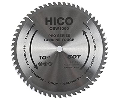 "HICO CBW1060 10"" 60-Tooth ATB Thin Kerf General Purpose Saw Blade with 5/8-Inch Arbor and Anti-Corrosive Coating by HICO"