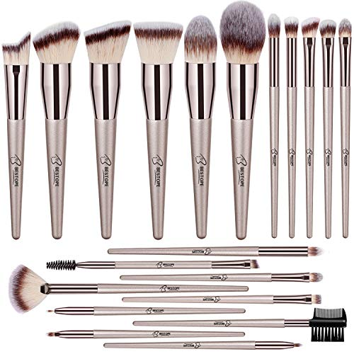 BESTOPE 20 PCs Makeup Brushes Premium Synthetic Foundation Powder Concealers Eye Shadows Makeup Brush Set with Champagne Gold Conical Handle (Best Brush Set For Eye Makeup)