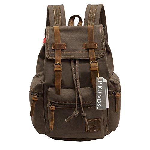 Vintage Canvas Laptop Backpack School College Rucksack Bag (Army green) - 2